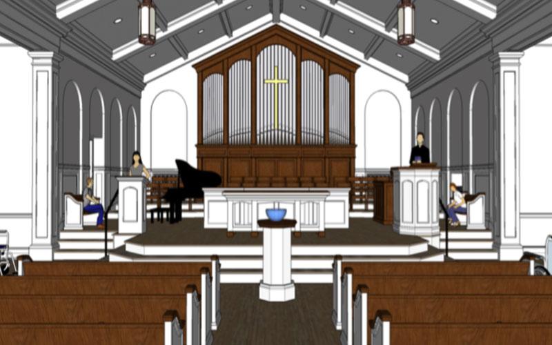 St Simons Presbyterian Church, rendering