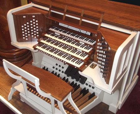 The Temple organ console